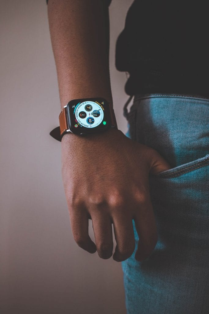 Man wearing IoT for healthcare smartwatch