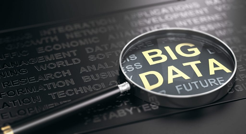 Magnifying glass highlighting big data and IoT as the future of technology