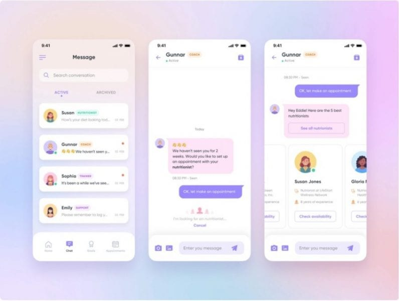 Examples of effective chatbot UI design