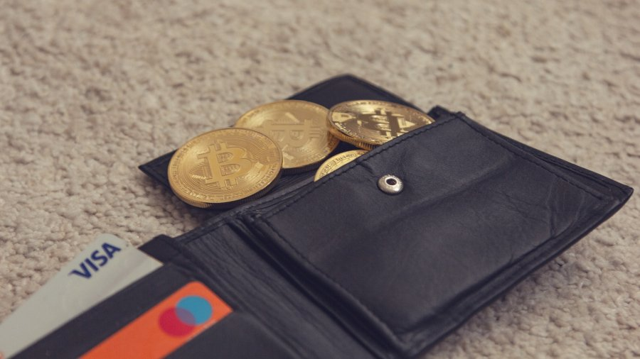 leather wallet wwith bitcoins