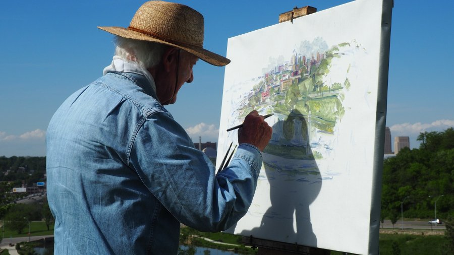 Artist painting a pictuer