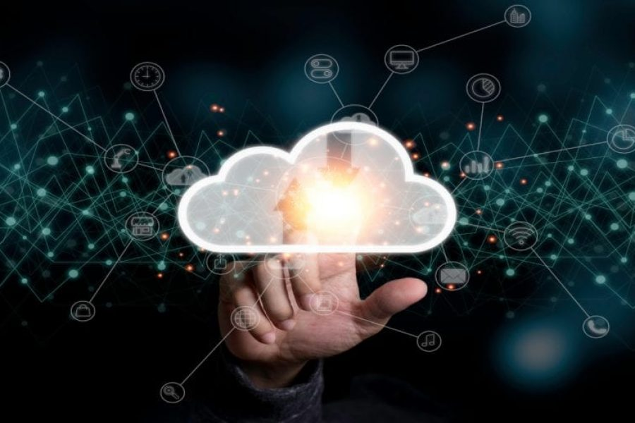 Hand,Touching,To,Virtual,Artificial,Intelligence,With,Cloud,Technology,Transformation